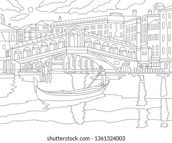 Gondolier coloring book isolated on white background. Vector illustration with venice canal