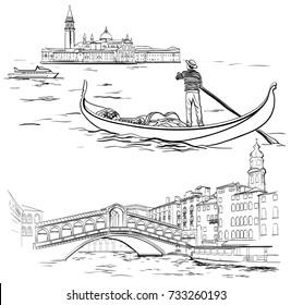 Gondolier near Lido island, Rialto Bridge, Venice
