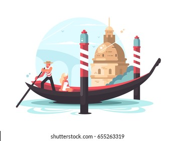 Gondolier transports woman in gondola