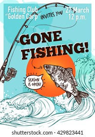 Gone fishing advertising poster of carp fishing rod on background with sea sky and sun sketch vector illustration