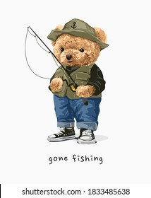gone fishing bear doll with fishing rod illustration