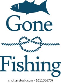 Gone Fishing Fish and Knot Rope Nautical