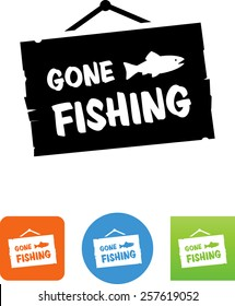 Gone fishing sign icon