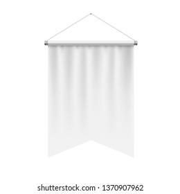 Gonfalon Fishtail Bottom Vertical White Flag Banner on a White Wall. Empty Template Illustration of Sport Flag Symbol Mockup