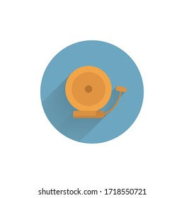gong colorful flat icon with long shadow. school bell flat icon