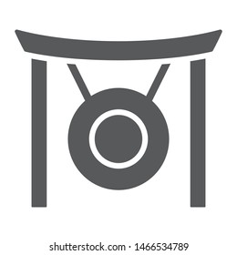 Gong glyph icon, asia and music, musical instrument sign, vector graphics, a solid pattern on a white background, eps 10.