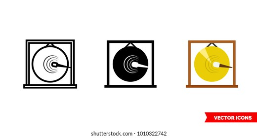 Gong icon of 3 types: color, black and white, outline. Isolated vector sign symbol.