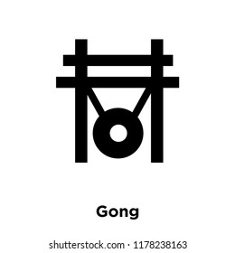 Gong icon vector isolated on white background, logo concept of Gong sign on transparent background, filled black symbol