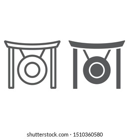 Gong line and glyph icon, asia and music, musical instrument sign, vector graphics, a linear pattern on a white background, eps 10.