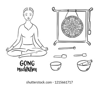 Gong meditation stand with sound bowls and sticks. Lotus  pose. Vector illustration.