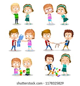 Good and bad behavior of a child. Kids fighting over a toys. Best friends forever. Funny cartoon character. Isolated on white background. Vector illustration.