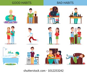 Good and bad habits collection, yoga and meditation, running and vegetables, and drinking alcohol, smoking and eating junk food vector illustration