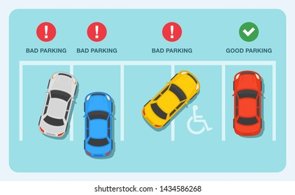 Good and bad parking examples infographic. Flat vector illustration.