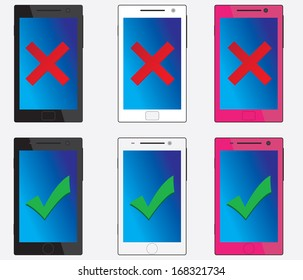 Good and bad smartphones with different colours  illustrated on white