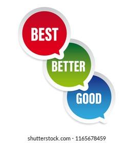 Good better best speech bubble vector