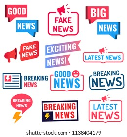 Good, big, fake, latest, breaking news. Set of badges, icons. Vector illustrations on white background.