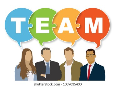 Good business team. The members of the team think differently, but they are talking together the same.