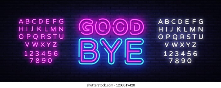 Good Bye neon text vector design template. Good Bye neon logo, light banner design element colorful modern design trend, night bright advertising, bright sign. Vector. Editing text neon sign