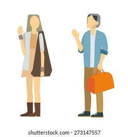 good bye people vector isolate on white background.