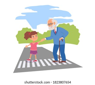Good child helping senior man to cross street. Courteous kind kid taking old man across road, holding hand. Manners and respect vector illustration. Polite girl taking care of senior.