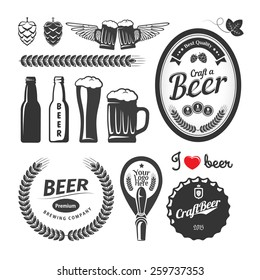 Good craft beer brewery labels, emblems and design elements. Vintage vector set