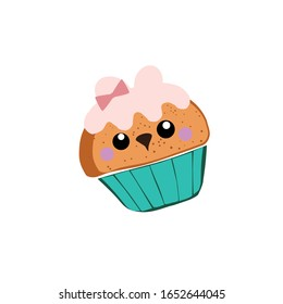 A good cupcake in the shape of a dog. Cartoon style vector illustration .Vector illustration on a white background