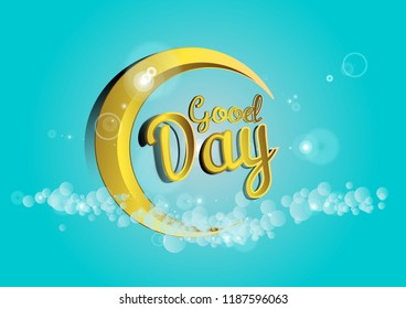 Good day greeting card sign pink stock vector royalty free good day beautiful greeting card background poster or banner with crescent moon decoration theme m4hsunfo