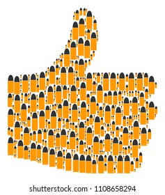 Good decision mosaic constructed of ammo bullet components in different sizes. Abstract vector thumb finger up representaion. Ammo bullet icons are organized into thumb finger up shape.