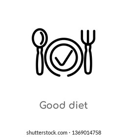 good diet vector line icon. Simple element illustration. good diet outline icon from gym and fitness concept. Can be used for web and mobile