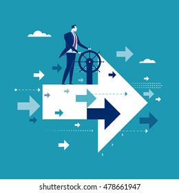 Good direction. Businessman drive flying arrows. Concept business vector illustration
