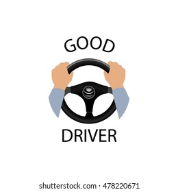Good driver sign. Diver design element with hands holding steering wheel. Vector icon.