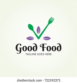 Good Food healthy logo design template. Vector spoon and fork logotype illustration. Graphic eco check icon for catering. Cooking organic leaf label sign isolated on background.