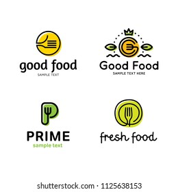 Good food logo design template set. Vector color fork illustration background. Graphic prime icon for cafe, restaurant, cooking business. Modern linear catering label, emblem, badge of fresh products