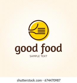 Good Food logo design template. Vector color hand like illustration background. Graphic fork icon symbol for cafe, restaurant, cooking business. Modern linear catering label, emblem, badge in circle