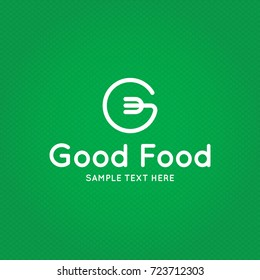 Good Food logo design template. Vector letter G logotype illustration background. Graphic fork icon for cafe, restaurant, cooking business. Modern linear catering label, emblem, badge in circle