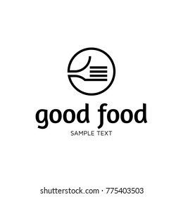 Good Food logo design template. Vector hand like illustration background. Graphic fork icon symbol for cafe, restaurant, cooking business. Modern linear catering label, emblem, badge in circle