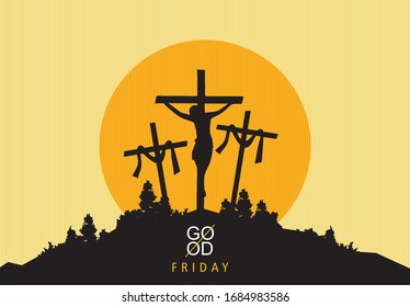 Good Friday background concept with Jesus cross in Illustration