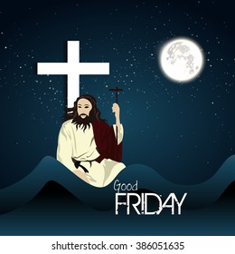 Good Friday background illustration with Jesus holding cross in moon light.