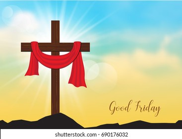 Good Friday. Background with wooden cross and sun rays in the sky,Vector illustration EPS10.