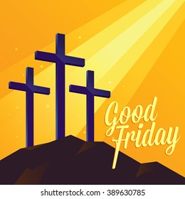 Good Friday Christianity background with three cross on the hill