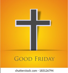 Good Friday concept with Illustration of Jesus cross on orange background.