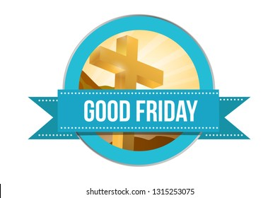 Good Friday day. Religious seal illustration isolated over a white background