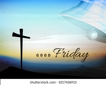 Good friday editable vector illustration composed of hand lettering text of Good Friday and Cross sign on abstract background.