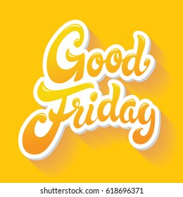Good Friday hand drawn lettering design vector illustration.