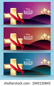 Good Friday vector Illustration Background for greeting card, poster - Translation of text : Good Friday
