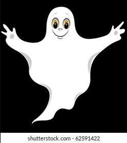 The good ghost. Cartoon vector illustration.