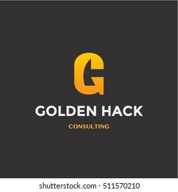 Good golden logotype template with G and a hack silhouette. Business logo idea for mining company.