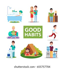 Good habits vector illustrations with people who eat natural food, go jogging, meditate, read books, maintain hygiene, relax on nature, drink water.
