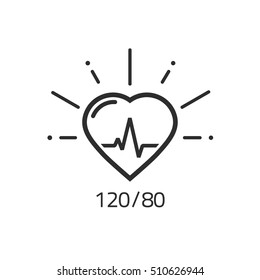 Good health vector outline icon, blood pressure numbers with heart pulse cardiogram, medical pulsometer logo element, heart beat label hospital equipment concept flat black and white line style