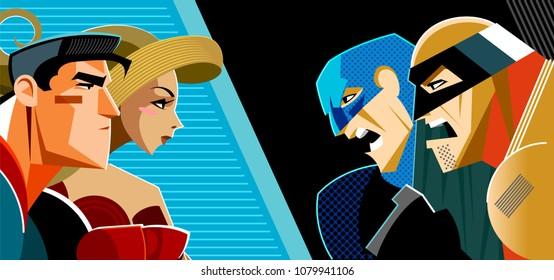 Good heroes versus evil heroes. Superheroes group. Vector illustration